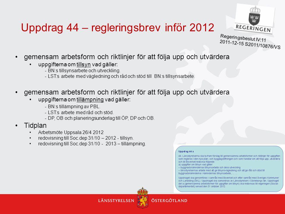 Uppdrag 44 – regleringsbrev inför 2012 gemensam arbetsform och riktlinjer för att följa upp och utvärdera uppgifterna om tillsyn vad gäller: - BN:s ti
