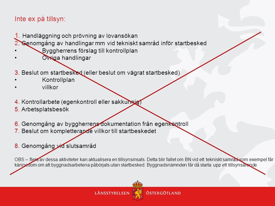 Inte ex på tillsyn: 1.Handläggning och prövning av lovansökan 2.