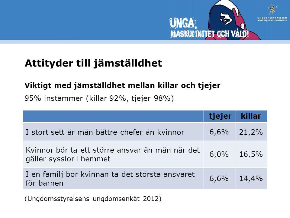 Attityder till jämställdhet Viktigt med jämställdhet mellan killar och tjejer 95% instämmer (killar 92%, tjejer 98%) (Ungdomsstyrelsens ungdomsenkät 2012) tjejerkillar I stort sett är män bättre chefer än kvinnor6,6%21,2% Kvinnor bör ta ett större ansvar än män när det gäller sysslor i hemmet 6,0%16,5% I en familj bör kvinnan ta det största ansvaret för barnen 6,6%14,4%