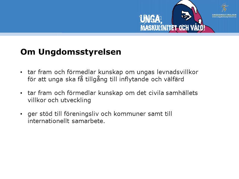 Svensk ungdomspolitik Den ungdomspolitiska propositionen Makt att bestämma– rätt till välfärd antogs av riksdagen 2004.
