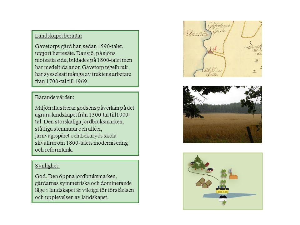 Landskapet berättar Gåvetorps gård har, sedan 1590-talet, utgjort herresäte. Dansjö, på sjöns motsatta sida, bildades på 1800-talet men har medeltida
