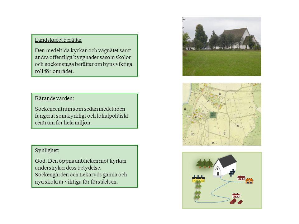 Landskapet berättar Den medeltida kyrkan och vägnätet samt andra offentliga byggnader såsom skolor och sockenstuga berättar om byns viktiga roll för o