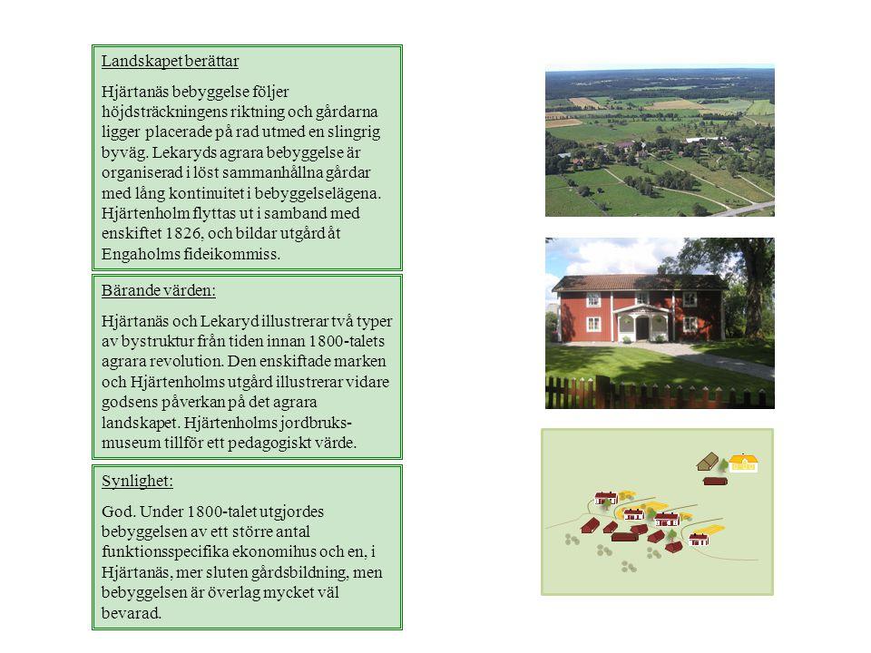Landskapet berättar Hjärtanäs bebyggelse följer höjdsträckningens riktning och gårdarna ligger placerade på rad utmed en slingrig byväg. Lekaryds agra