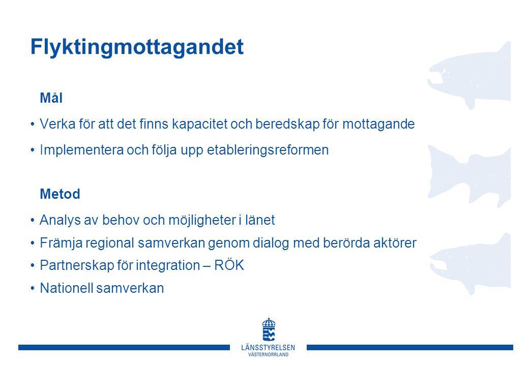 Flyktingmottagandet Mål Verka för att det finns kapacitet och beredskap för mottagande Implementera och följa upp etableringsreformen Metod Analys av behov och möjligheter i länet Främja regional samverkan genom dialog med berörda aktörer Partnerskap för integration – RÖK Nationell samverkan