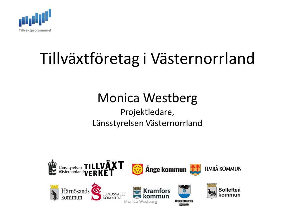 Tillväxtföretag i Västernorrland Monica Westberg Projektledare, Länsstyrelsen Västernorrland Monica Westberg