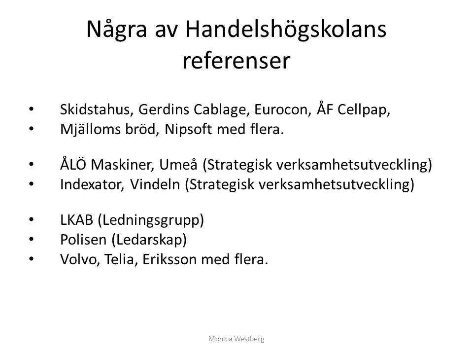 Några av Handelshögskolans referenser Skidstahus, Gerdins Cablage, Eurocon, ÅF Cellpap, Mjälloms bröd, Nipsoft med flera. ÅLÖ Maskiner, Umeå (Strategi