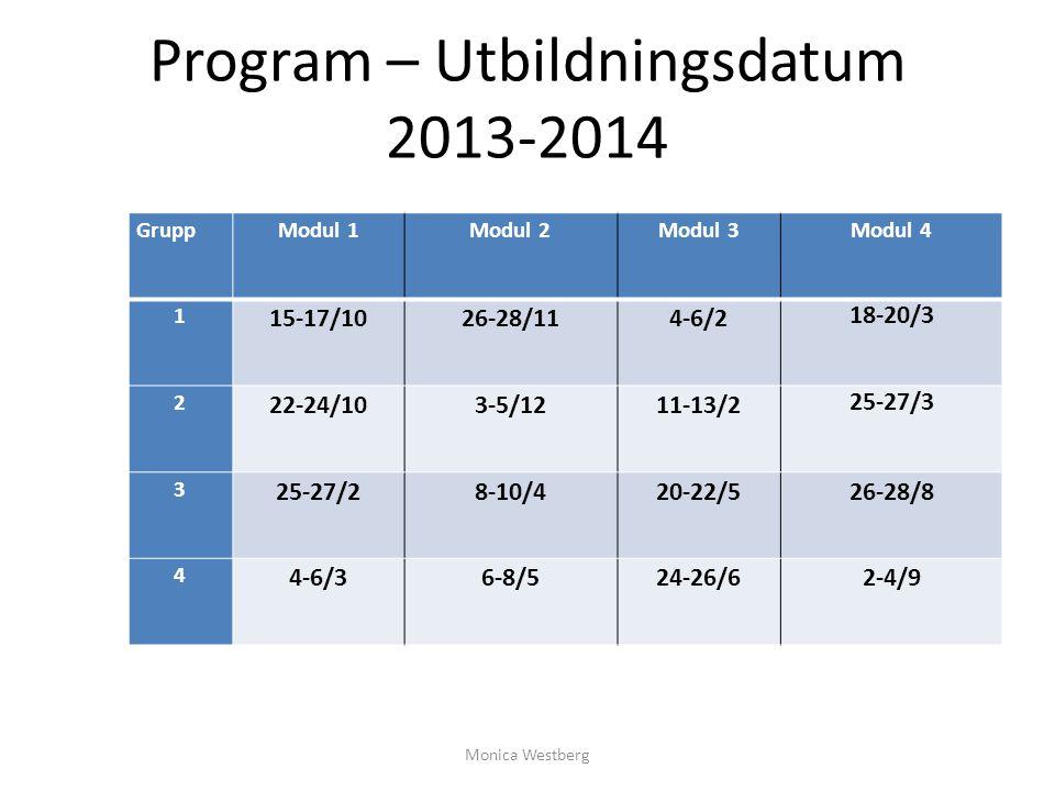 Program – Utbildningsdatum 2013-2014 GruppModul 1Modul 2Modul 3Modul 4 1 15-17/1026-28/114-6/2 18-20/3 2 22-24/103-5/1211-13/2 25-27/3 3 25-27/28-10/4