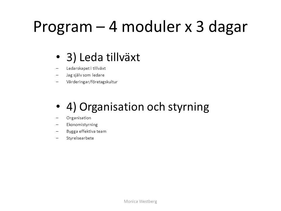 Program – 4 moduler x 3 dagar 3) Leda tillväxt – Ledarskapet i tillväxt – Jag själv som ledare – Värderingar/företagskultur 4) Organisation och styrni
