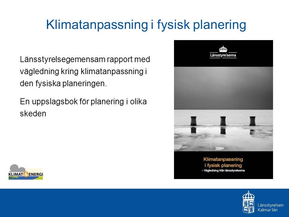 Rapportens innehåll Klimatförändringar i Sverige Värden och system som påverkas Långsiktigt hållbar samhällsplanering Hur gör man i praktiken – före, under och efter planarbetet enligt PBL - referens till lagparagraf och - idékatalog över möjliga åtgärder