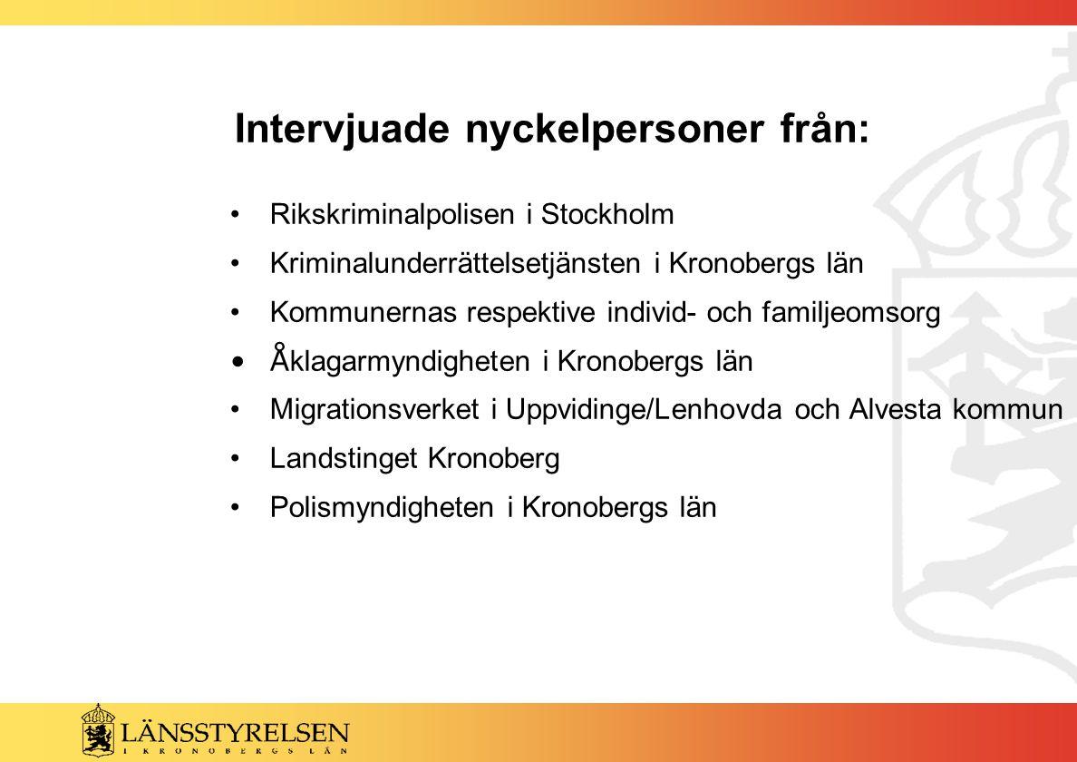 Intervjuade nyckelpersoner från: Rikskriminalpolisen i Stockholm Kriminalunderrättelsetjänsten i Kronobergs län Kommunernas respektive individ- och fa