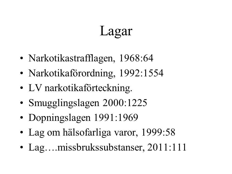 Lagar Narkotikastrafflagen, 1968:64 Narkotikaförordning, 1992:1554 LV narkotikaförteckning. Smugglingslagen 2000:1225 Dopningslagen 1991:1969 Lag om h