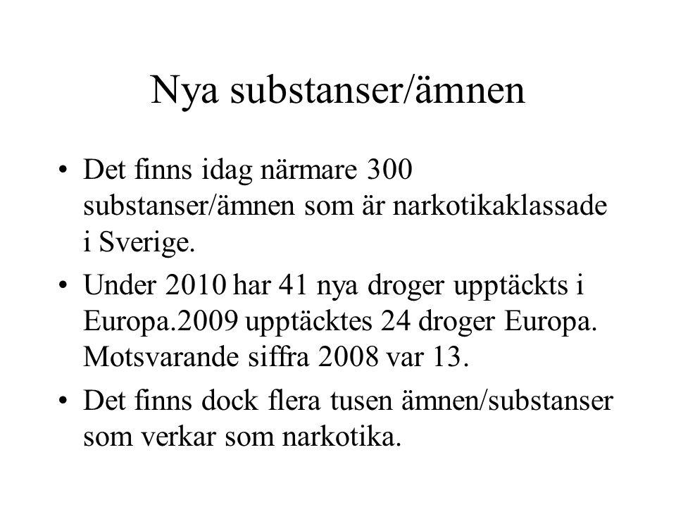 Nya substanser/ämnen Det finns idag närmare 300 substanser/ämnen som är narkotikaklassade i Sverige. Under 2010 har 41 nya droger upptäckts i Europa.2
