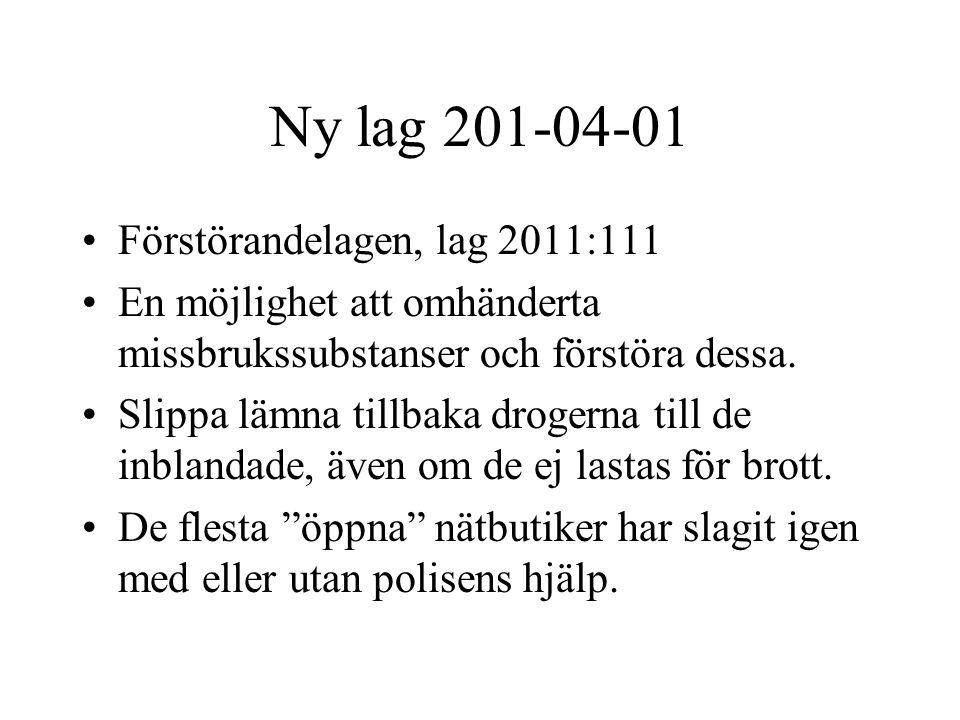 Ny lag 201-04-01 Förstörandelagen, lag 2011:111 En möjlighet att omhänderta missbrukssubstanser och förstöra dessa. Slippa lämna tillbaka drogerna til