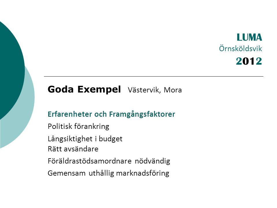 LUMA Örnsköldsvik Goda Exempel Västervik, Mora Erfarenheter och Framgångsfaktorer Politisk förankring Långsiktighet i budget Rätt avsändare Föräldrastödsamordnare nödvändig Gemensam uthållig marknadsföring 2012