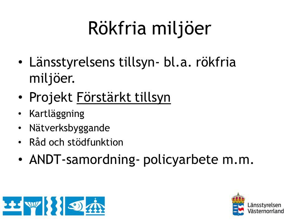 Rökfria miljöer Länsstyrelsens tillsyn- bl.a. rökfria miljöer.
