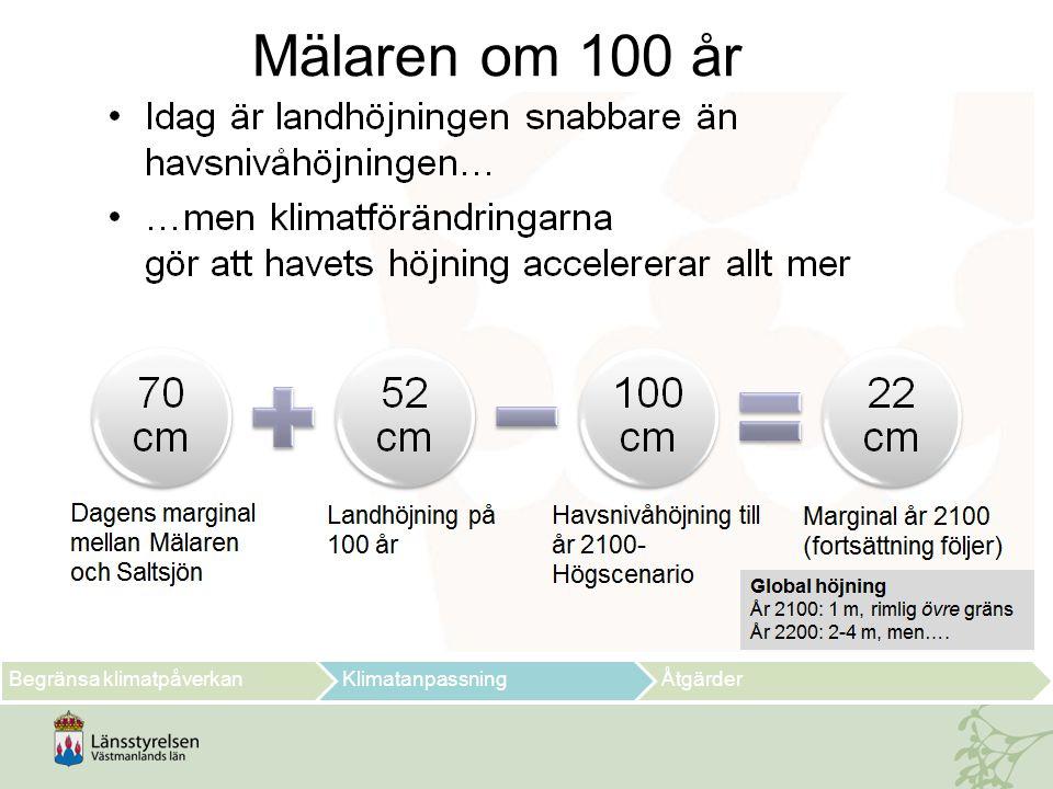 Begränsa klimatpåverkanKlimatanpassningÅtgärder Mälaren om 100 år