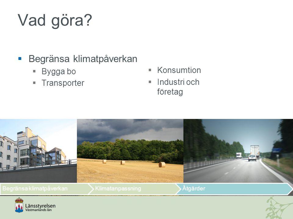  Begränsa klimatpåverkan  Bygga bo  Transporter Vad göra?  Konsumtion  Industri och företag Begränsa klimatpåverkanKlimatanpassningÅtgärder