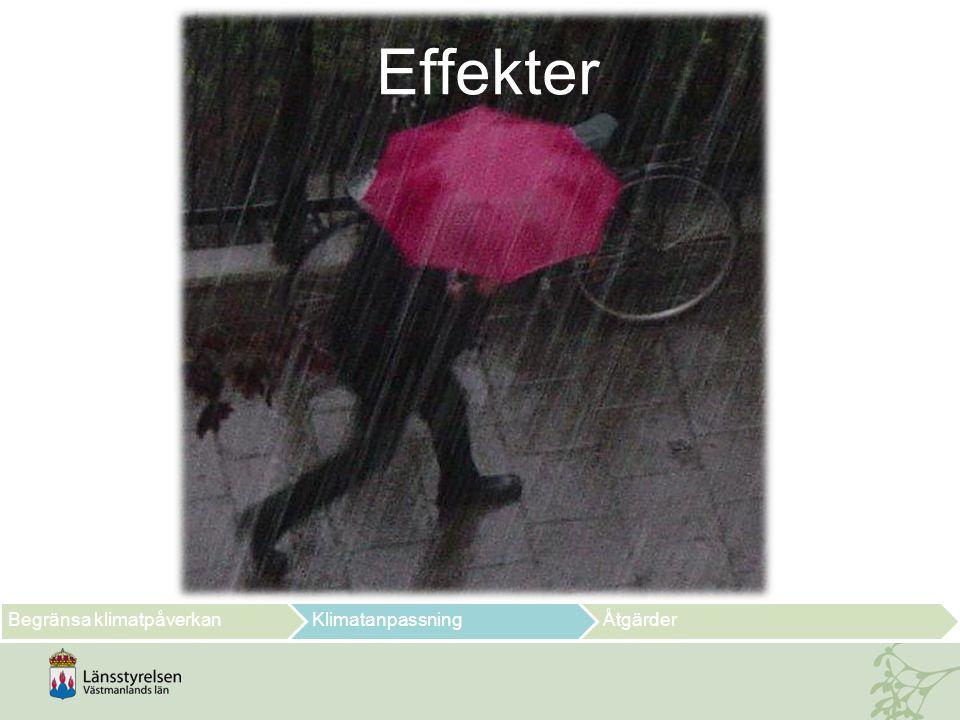 Temperaturutveckling för Västmanlands län Vinter (DJF) Vår (MAM) Sommar (JJA ) Höst (SON) Begränsa klimatpåverkanKlimatanpassningÅtgärder