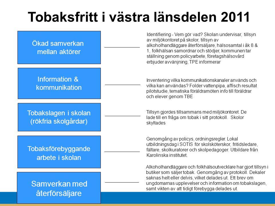 Tobaksfritt i västra länsdelen 2011 19 Ökad samverkan mellan aktörer Identifiering - Vem gör vad.