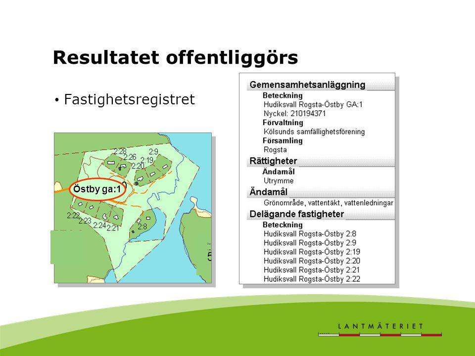 Resultatet offentliggörs Fastighetsregistret Östby ga:1