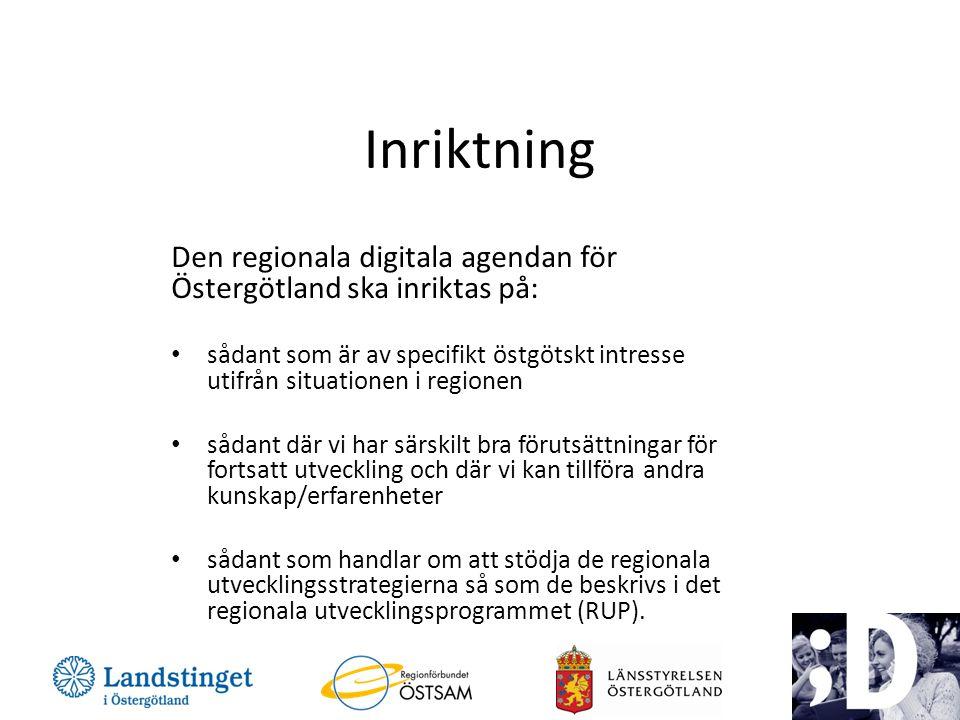 Förslag på insatsområden Bredbandsinfrastruktur Digital kompetens och delaktighet – Omfattar även IT för lärande Digitala tjänster i offentlig verksamhet – Ex.