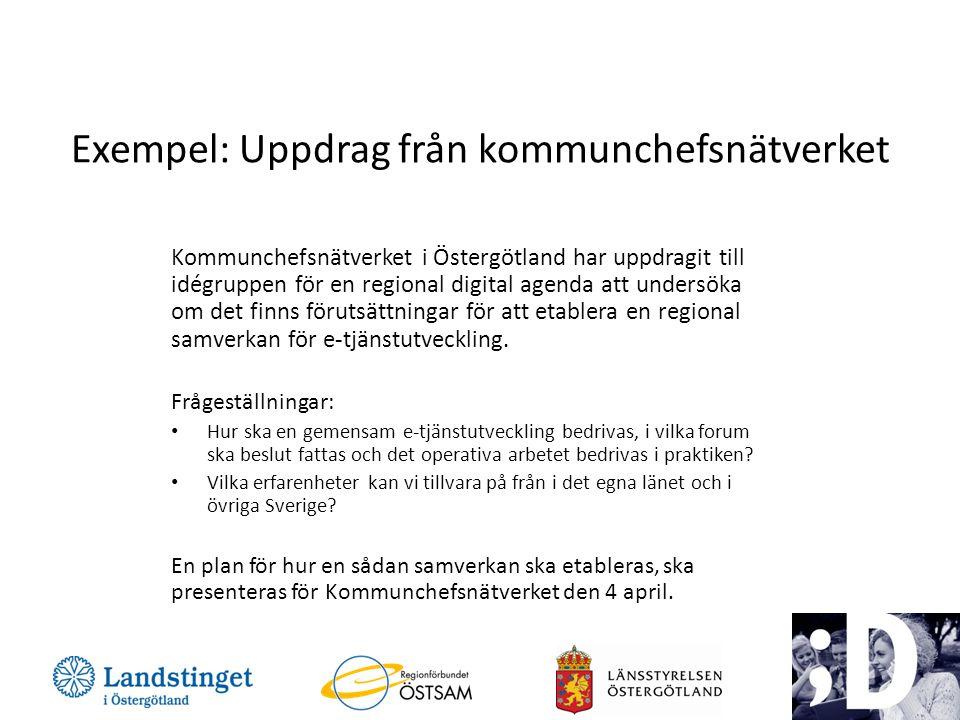 Exempel: Uppdrag från kommunchefsnätverket Kommunchefsnätverket i Östergötland har uppdragit till idégruppen för en regional digital agenda att unders