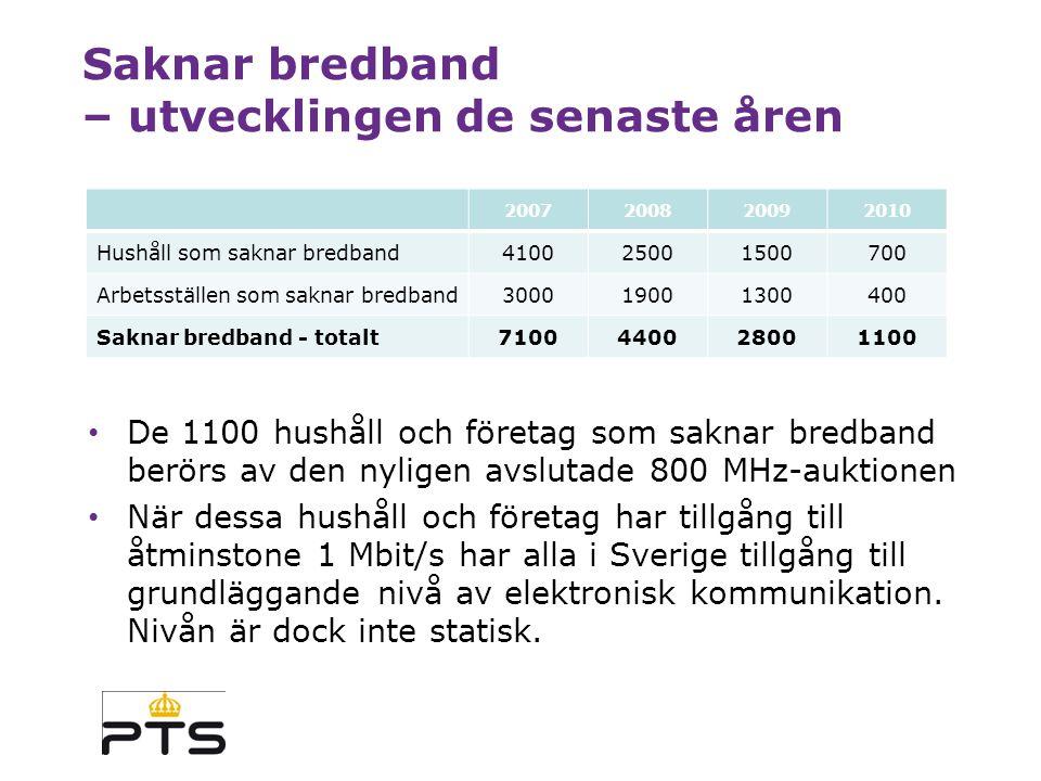 Huvudsakliga resultat HUSHÅLLARBETSSTÄLLEN HUSHÅLL OCH ARBETSSTÄLLEN Bredband med 100 Mbit/s 46 %32 %44 % - via fiber35 %27 %34 % - via koaxialnät (DOCSIS 3.0) 32 %20 %30 % Antal som helt saknar bredband 7004001100 Regeringens mål om 100 Mbit/s till 40 % av hushållen och företagen innan 2015 är uppnått med bred marginal (44 % av hushållen och företagen).