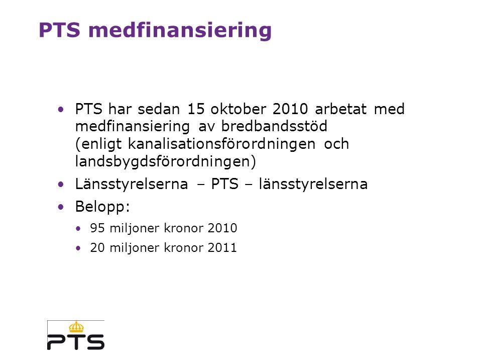 PTS roll i förhållande till bredbandsstrategin Strategin är marknadsdriven PTS har en mycket viktig roll i strategin: Konkurrensfrämjande reglering (SMP) Spektrumhantering och tilldelning Utredning, kartläggning, uppföljning Information och samverkan Medfinansiering av bredbandsstöd