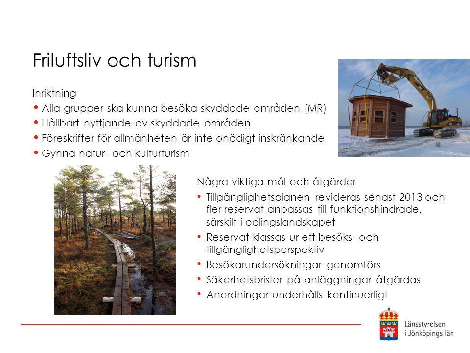 Friluftsliv och turism Inriktning Alla grupper ska kunna besöka skyddade områden (MR) Hållbart nyttjande av skyddade områden Föreskrifter för allmänhe