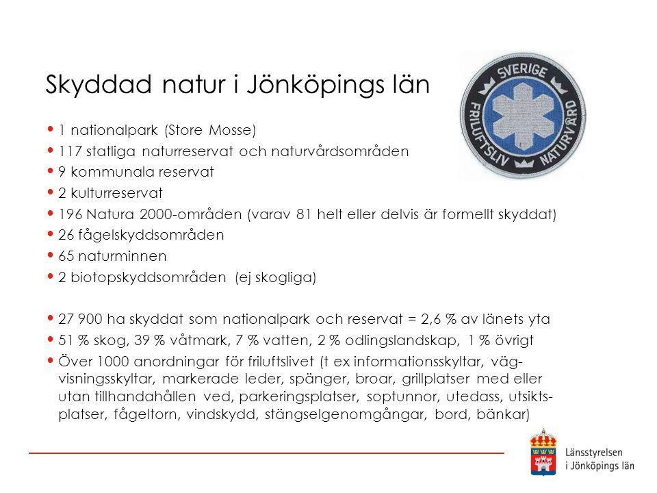 Skyddad natur i Jönköpings län 1 nationalpark (Store Mosse) 117 statliga naturreservat och naturvårdsområden 9 kommunala reservat 2 kulturreservat 196