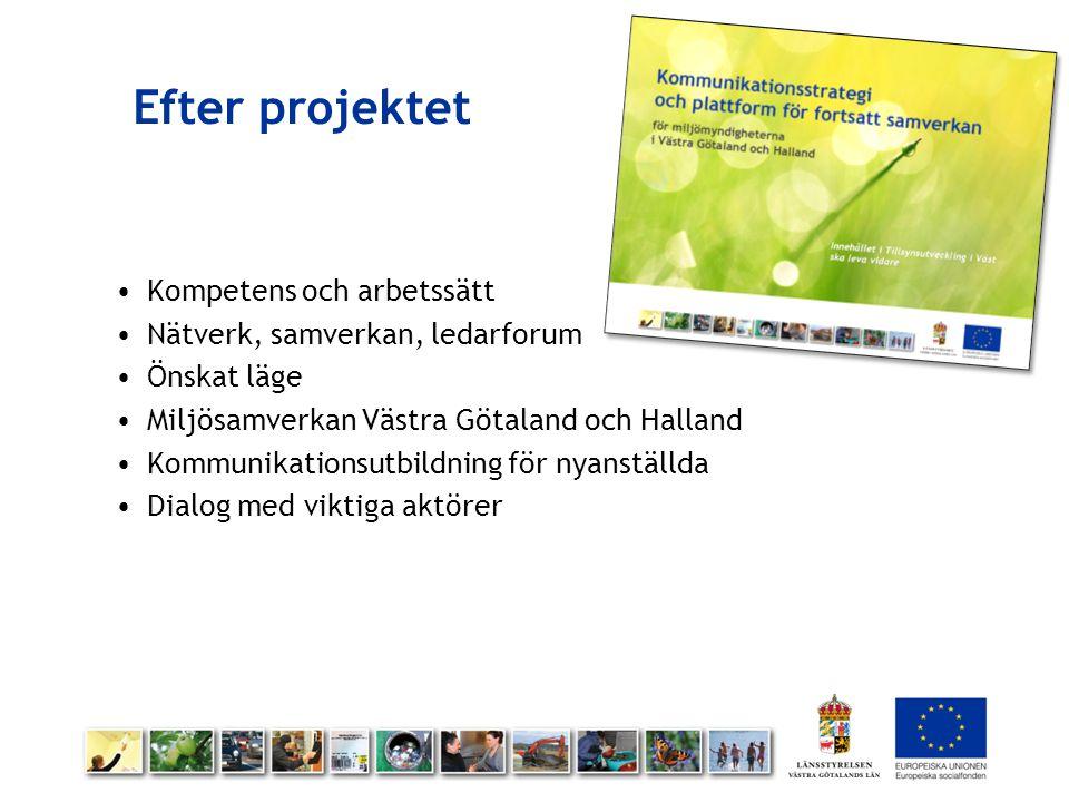 Efter projektet Kompetens och arbetssätt Nätverk, samverkan, ledarforum Önskat läge Miljösamverkan Västra Götaland och Halland Kommunikationsutbildnin