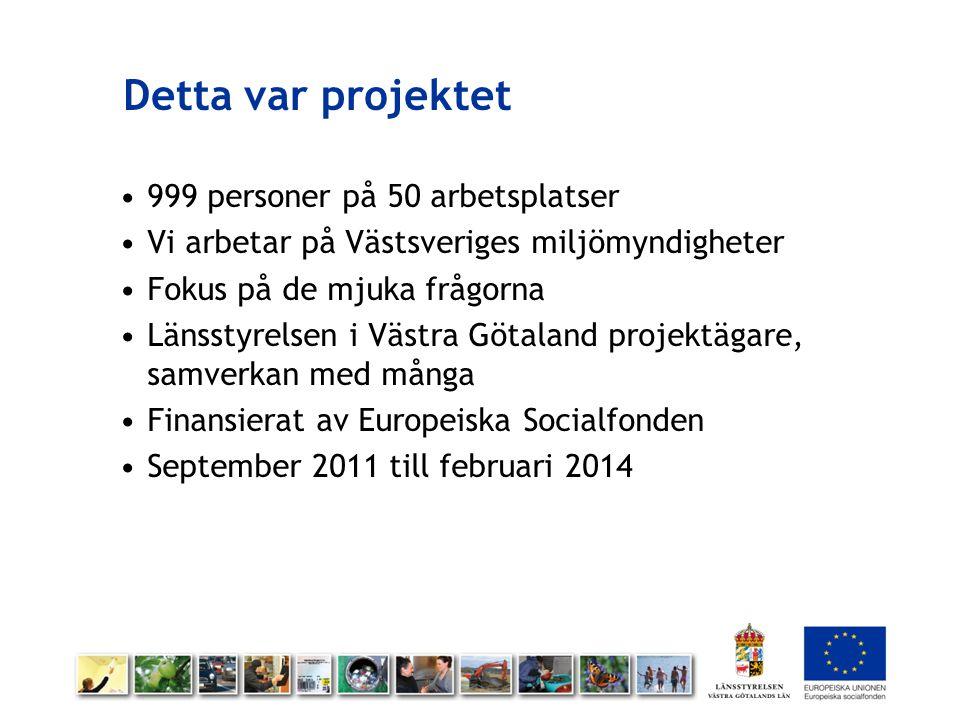 Detta var projektet 999 personer på 50 arbetsplatser Vi arbetar på Västsveriges miljömyndigheter Fokus på de mjuka frågorna Länsstyrelsen i Västra Göt