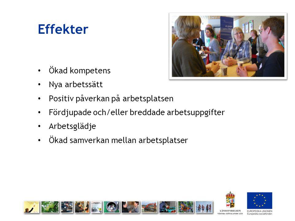 Effekter Ökad kompetens Nya arbetssätt Positiv påverkan på arbetsplatsen Fördjupade och/eller breddade arbetsuppgifter Arbetsglädje Ökad samverkan mel