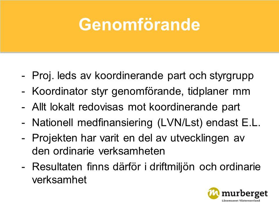 Genomförande -Proj. leds av koordinerande part och styrgrupp -Koordinator styr genomförande, tidplaner mm -Allt lokalt redovisas mot koordinerande par