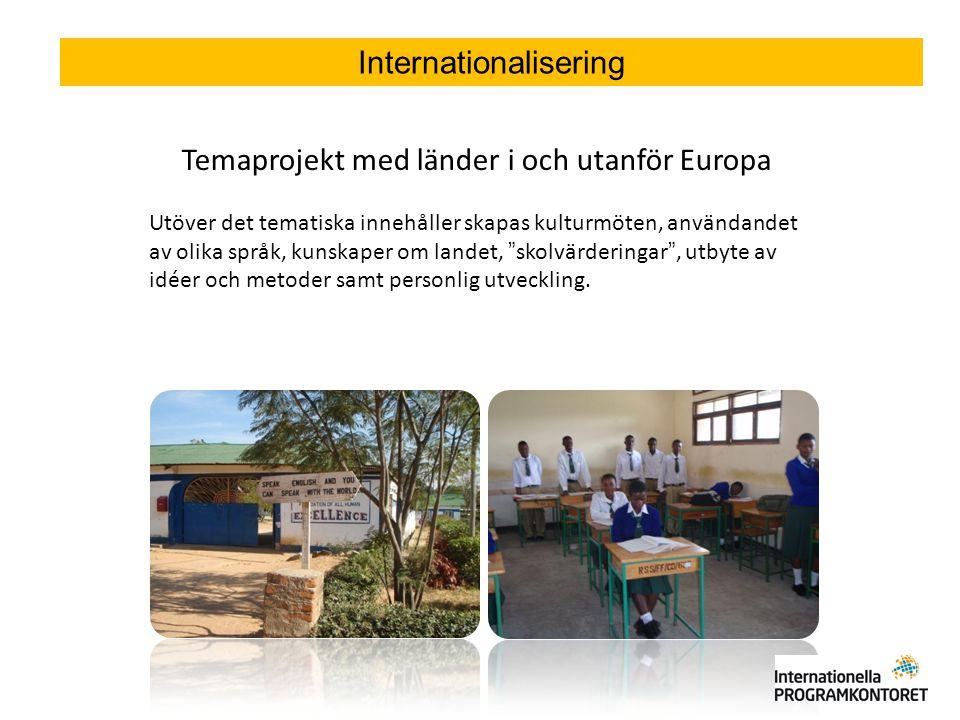 Temaprojekt med länder i och utanför Europa Utöver det tematiska innehåller skapas kulturmöten, användandet av olika språk, kunskaper om landet, skolvärderingar , utbyte av idéer och metoder samt personlig utveckling.