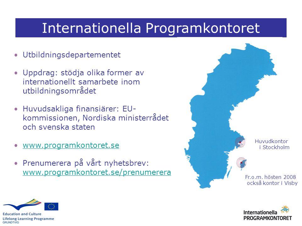 Utbildningsdepartementet Uppdrag: stödja olika former av internationellt samarbete inom utbildningsområdet Huvudsakliga finansiärer: EU- kommissionen,