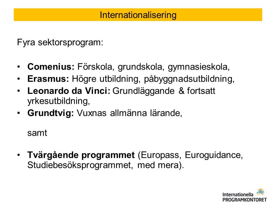 Fyra sektorsprogram: Comenius: Förskola, grundskola, gymnasieskola, Erasmus: Högre utbildning, påbyggnadsutbildning, Leonardo da Vinci: Grundläggande