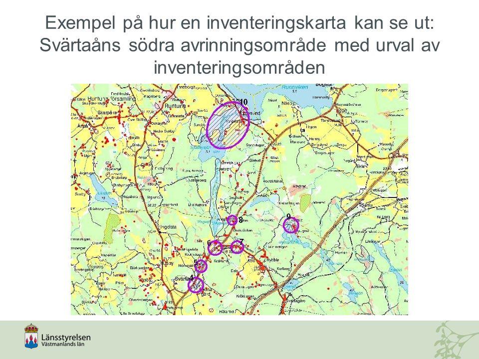 Exempel på hur en inventeringskarta kan se ut: Svärtaåns södra avrinningsområde med urval av inventeringsområden