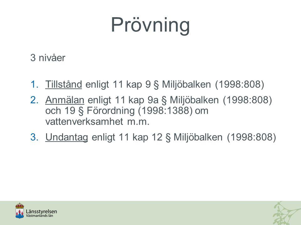 Prövning 3 nivåer 1.Tillstånd enligt 11 kap 9 § Miljöbalken (1998:808) 2.Anmälan enligt 11 kap 9a § Miljöbalken (1998:808) och 19 § Förordning (1998:1