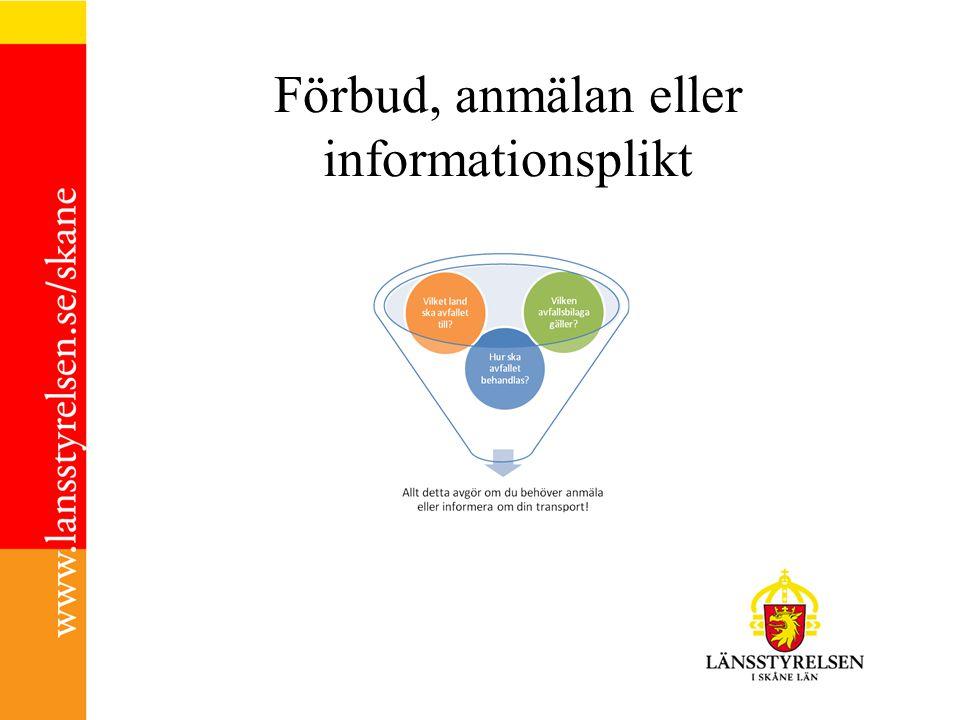 Förbud, anmälan eller informationsplikt