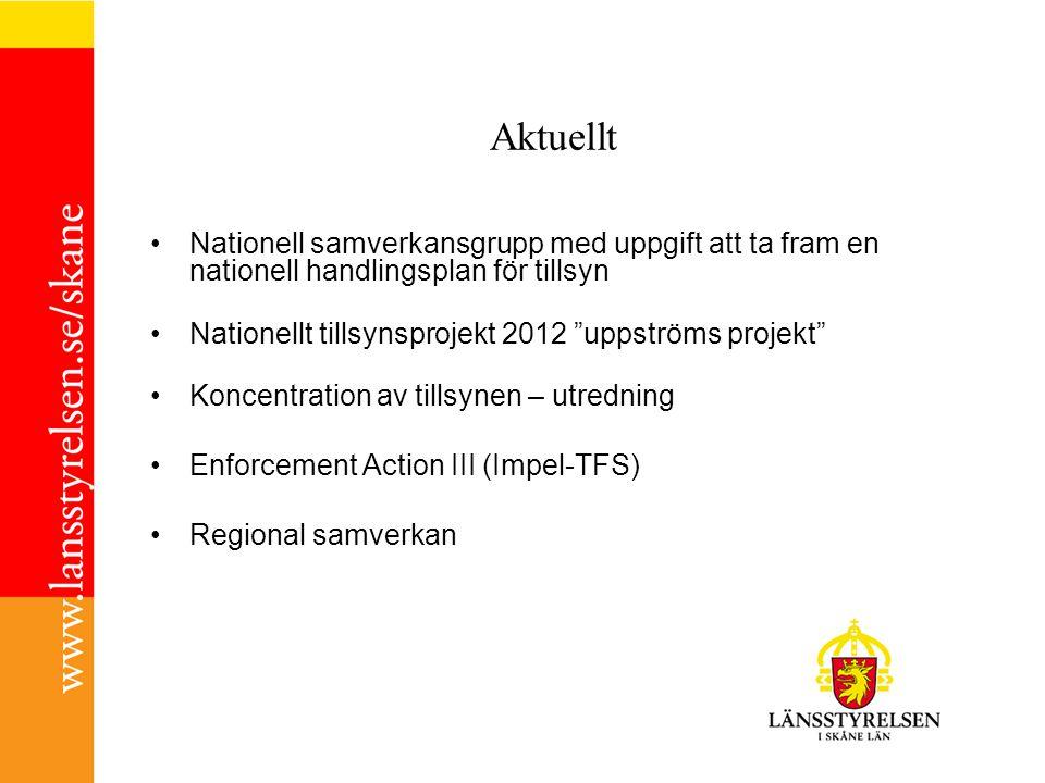 Aktuellt Nationell samverkansgrupp med uppgift att ta fram en nationell handlingsplan för tillsyn Nationellt tillsynsprojekt 2012 uppströms projekt Koncentration av tillsynen – utredning Enforcement Action III (Impel-TFS) Regional samverkan