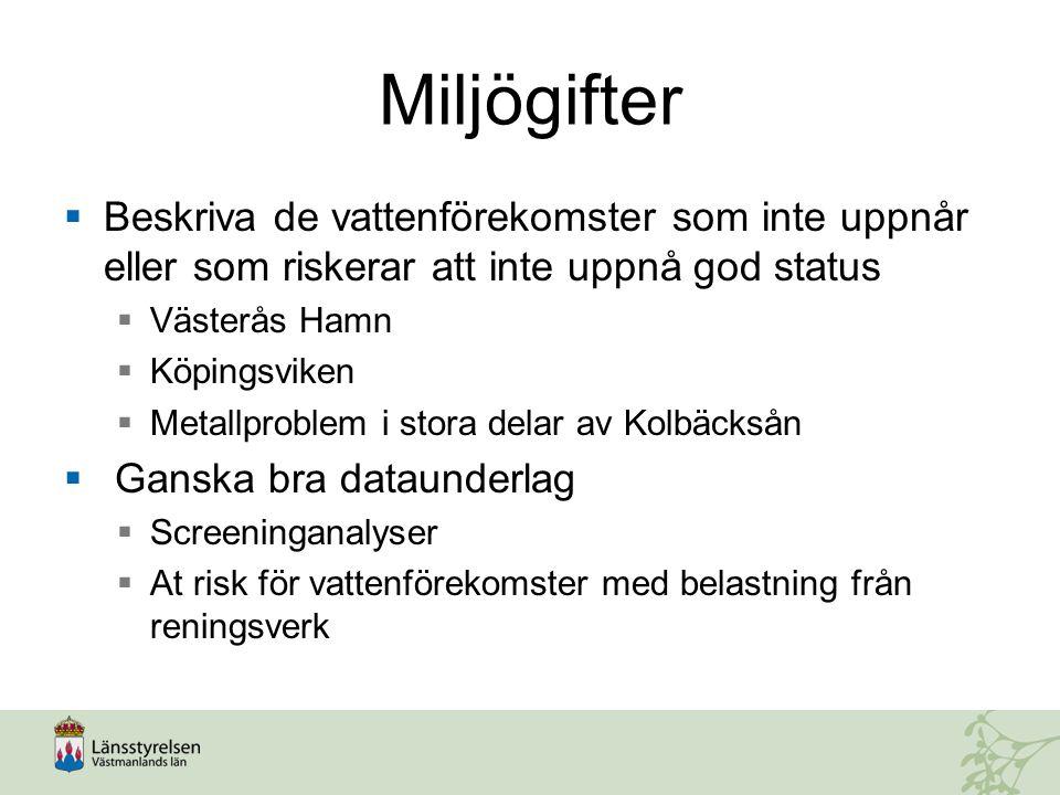 Miljögifter  Beskriva de vattenförekomster som inte uppnår eller som riskerar att inte uppnå god status  Västerås Hamn  Köpingsviken  Metallproble