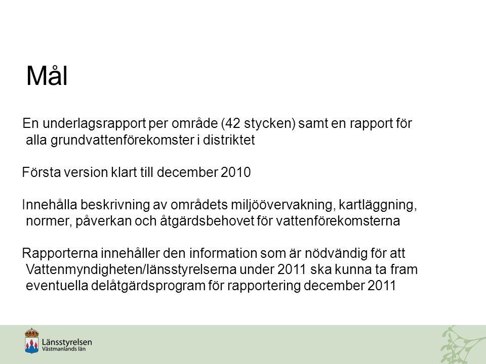 En underlagsrapport per område (42 stycken) samt en rapport för alla grundvattenförekomster i distriktet Första version klart till december 2010 Inneh