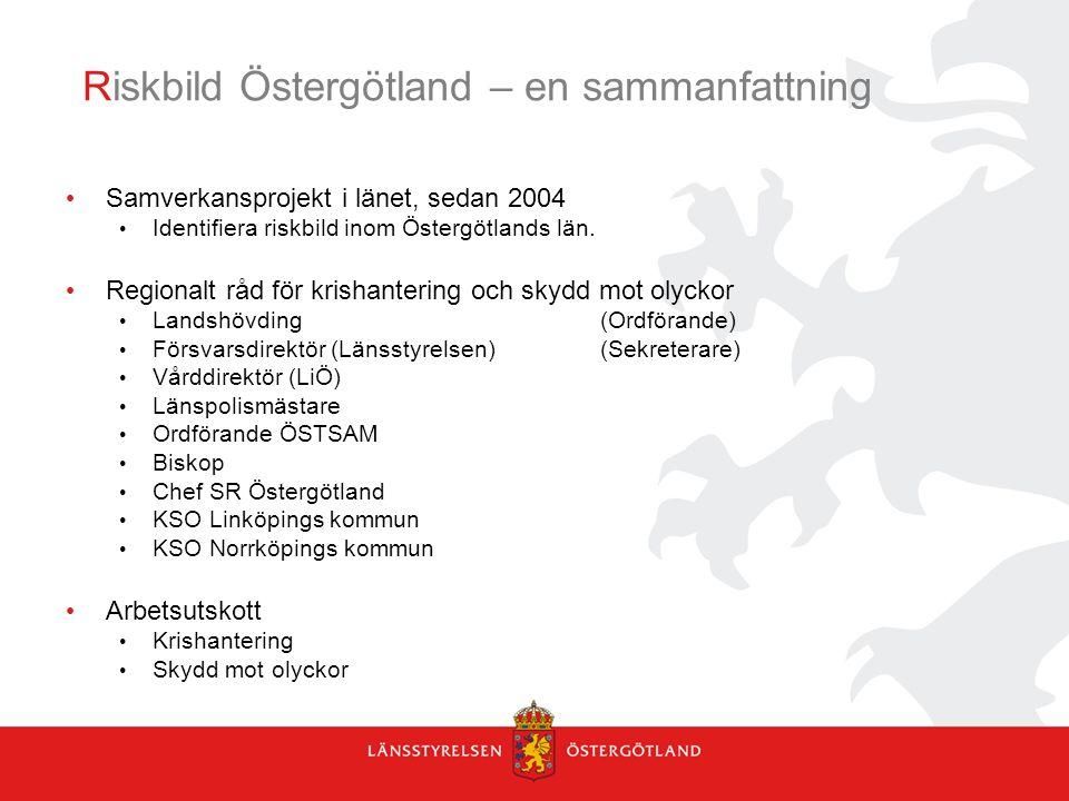Riskbild Östergötland – en sammanfattning Samverkansprojekt i länet, sedan 2004 Identifiera riskbild inom Östergötlands län. Regionalt råd för krishan