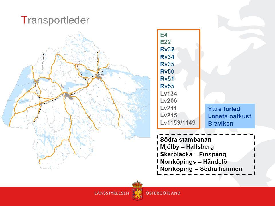 Transportleder E4 E22 Rv32 Rv34 Rv35 Rv50 Rv51 Rv55 Lv134 Lv206 Lv211 Lv215 Lv1153/1149 Södra stambanan Mjölby – Hallsberg Skärblacka – Finspång Norrköpings – Händelö Norrköping – Södra hamnen Yttre farled Länets ostkust Bråviken