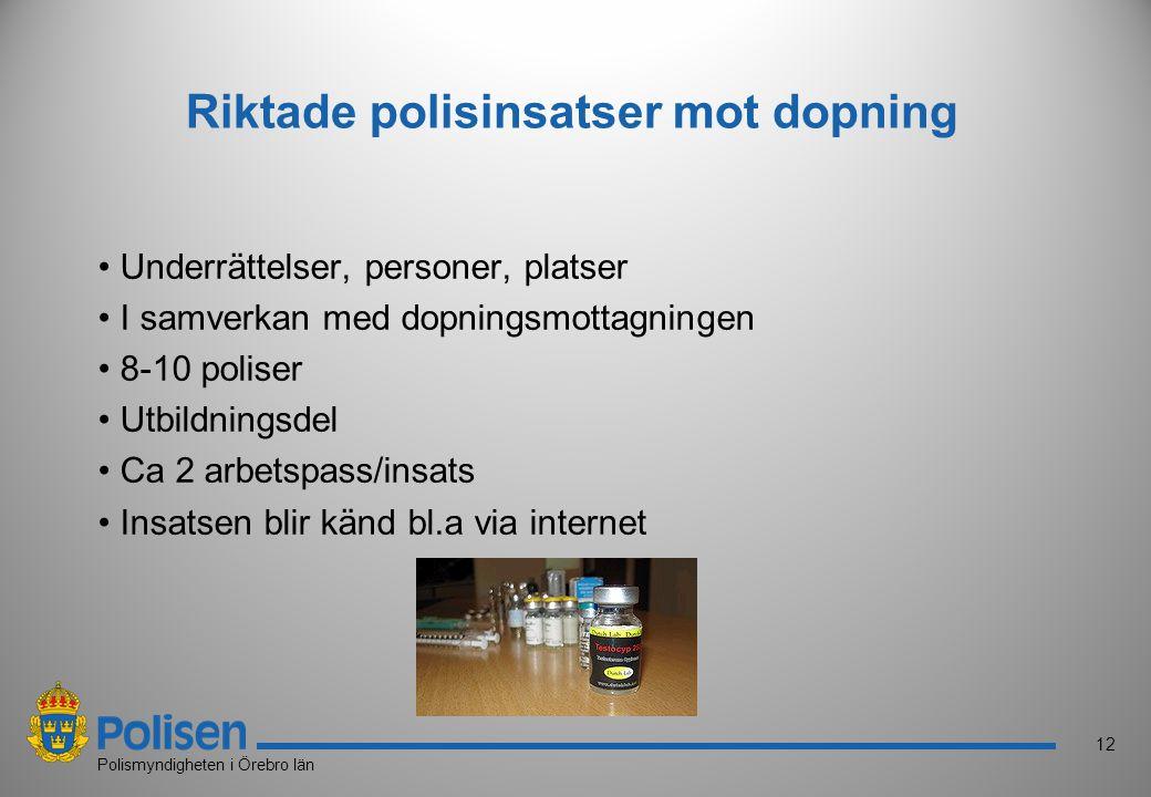 12 Polismyndigheten i Örebro län Riktade polisinsatser mot dopning Underrättelser, personer, platser I samverkan med dopningsmottagningen 8-10 poliser