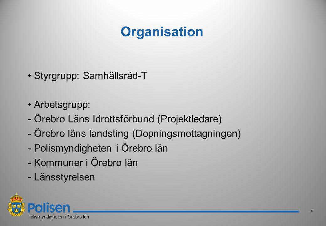 4 Polismyndigheten i Örebro län Organisation Styrgrupp: Samhällsråd-T Arbetsgrupp: -Örebro Läns Idrottsförbund (Projektledare) -Örebro läns landsting