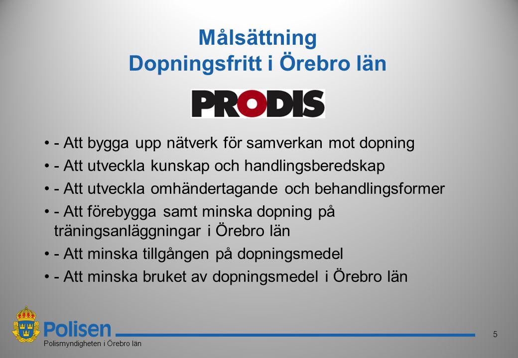 5 Polismyndigheten i Örebro län Målsättning Dopningsfritt i Örebro län - Att bygga upp nätverk för samverkan mot dopning - Att utveckla kunskap och ha