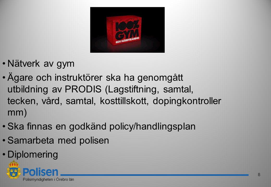 8 Polismyndigheten i Örebro län Nätverk av gym Ägare och instruktörer ska ha genomgått utbildning av PRODIS (Lagstiftning, samtal, tecken, vård, samta