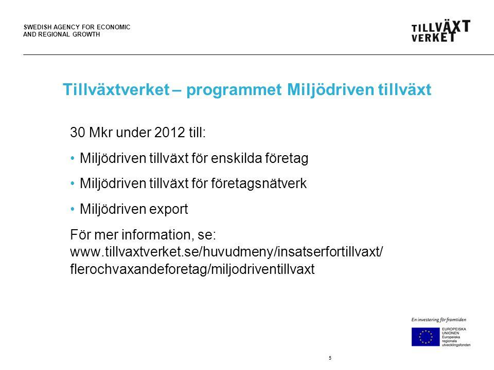 SWEDISH AGENCY FOR ECONOMIC AND REGIONAL GROWTH Tillväxtverket – programmet Miljödriven tillväxt 30 Mkr under 2012 till: Miljödriven tillväxt för enskilda företag Miljödriven tillväxt för företagsnätverk Miljödriven export För mer information, se: www.tillvaxtverket.se/huvudmeny/insatserfortillvaxt/ flerochvaxandeforetag/miljodriventillvaxt 5